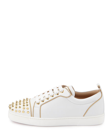 low priced 06501 3c7ef Rush Spiked Leather Low-Top Sneaker White/Gold