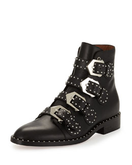 Studded Leather Ankle Boot, Black
