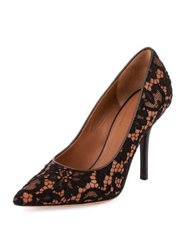 Lace Overlay Point-Toe Pump