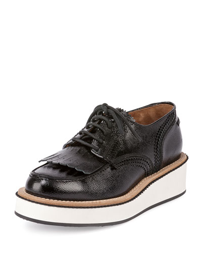 Platform Lace-Up Derby Oxford, Black