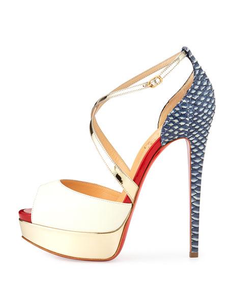2c4441fb5380 Christian Louboutin Cross Me Snakeskin   Leather Red Sole Sandal