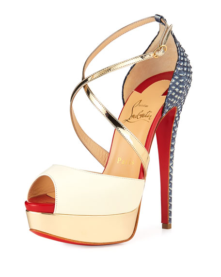 Christian Louboutin Cross Me Snakeskin \u0026amp; Leather Red Sole Sandal