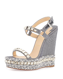 Cataclou Studded Denim Platform Red Sole Espadrille
