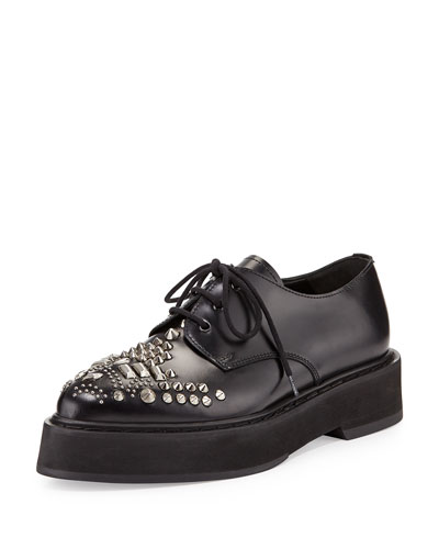 Studded Leather Platform Oxford, Black