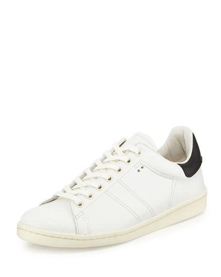 124ca52ce73 Isabel Marant Bart Two-Tone Leather Low-Top Sneaker, White