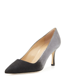 Ombre Suede 70mm BB Pump, Black/Gray