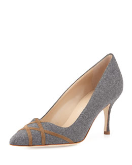 Terla Crisscross Flannel Point-Toe Pump