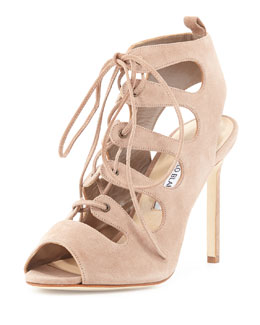 Attal Suede Cutout Lace-Up Sandal