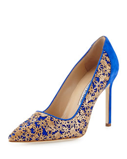 Ichi Laser-Cut Cork Suede Pump, Blue/Natural Cork