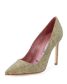 Bobby Iridescent Brocade Point-Toe Pump