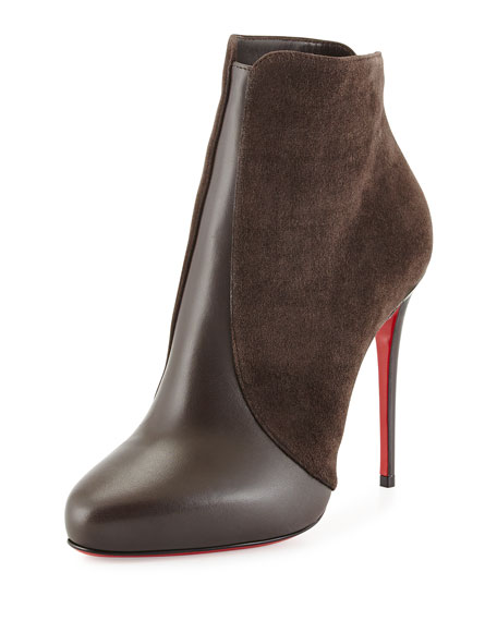 Christian Louboutin Gaetanina Split Suede \u0026amp; Leather Red Sole Bootie