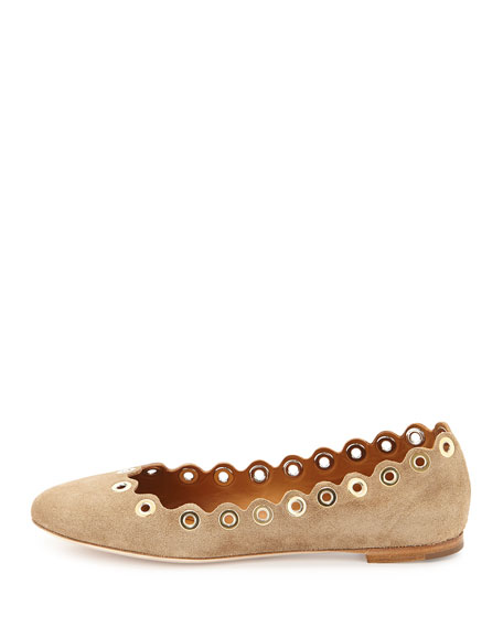 Flo Grommet Scalloped Suede Ballerina Flat, Ship Gray