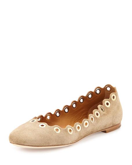 Flo Grommet Scalloped Suede Ballerina Flat, Ship Gray