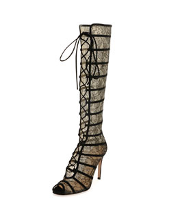 Knee-High Lace Peep-Toe Boot, Black/Nude