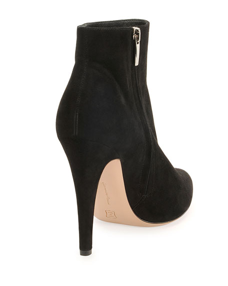 Point-Toe Suede Ankle Boot