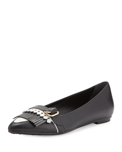 Pointy-Toe Two-Tone Fringe Ballet Flat