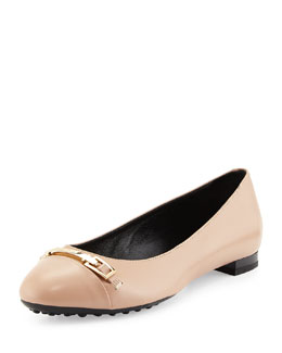 Horsebit Leather Ballerina Flat, Cream