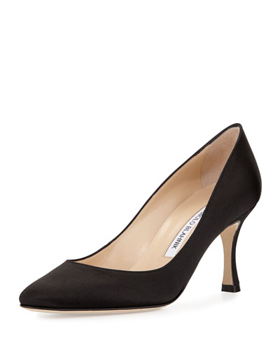 Lisa Satin Almond-Toe Pump