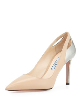 Bicolor Cutout Point-Toe Pump
