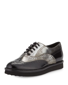Two-Tone Leather Wing-Tip Oxford