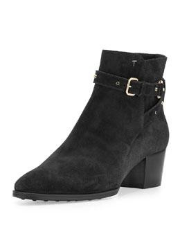 Studded Ankle-Wrap Suede Bootie, Black