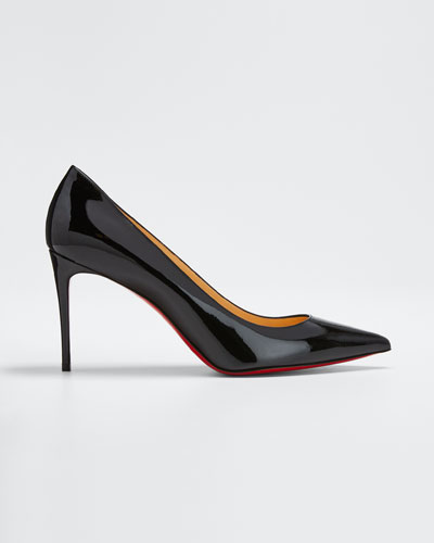 Decollete Patent Leather Red Sole Pump, Black