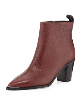 Loma Grained Leather Point-Toe Ankle Boot, Burgundy