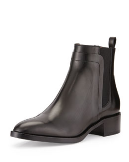 Polished Leather Block-Heel Ankle Boot