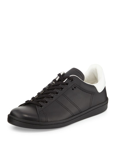 Bart Two-Tone Leather Low-Top Sneaker, Black
