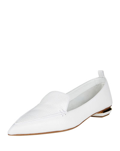 Pebbled Leather Point-Toe Loafer, White