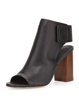 Faye Open-Toe Leather Bootie