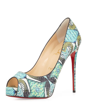 Christian Louboutin Very Prive Python Peep-Toe Red Sole Pump