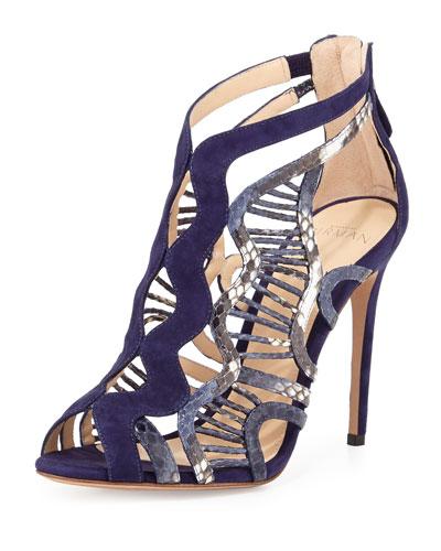 Koleta Suede & Python Cutout Sandal, Blue