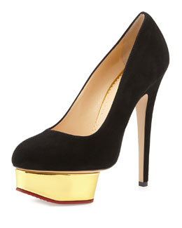 Dolly Suede Platform Pump, Black/Golden