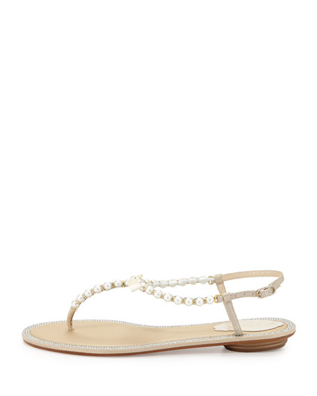 Crystal-Trimmed Pearly Thong Sandal