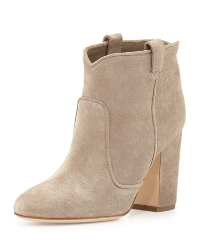 Pete Western Distressed Suede Ankle Boot, Beige