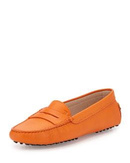 Gommini Pebbled Leather Moccasin, Orange