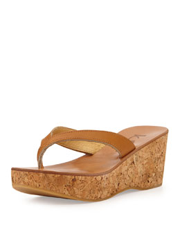 Leather Thong Wedge Sandal