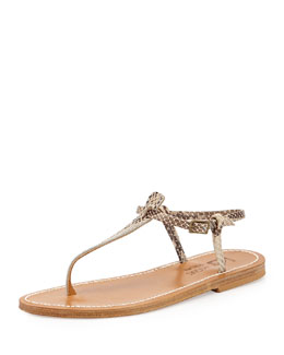 Snake-Embossed Leather T-Strap Flat Sandal