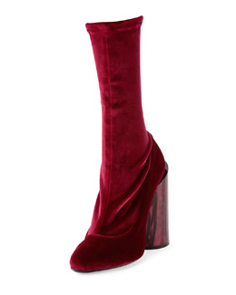 Velvet Mother-Of-Pearl Show Boot, Burgundy