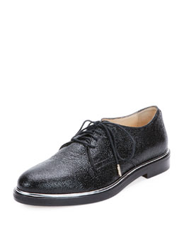 Crushed Shiny Leather Oxford Shoe