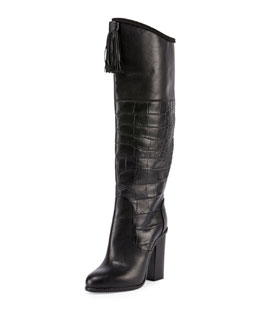 Croc-Embossed Paneled Tassel Knee Boot