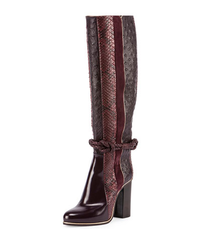 Python & Ostrich-Embossed Striped Knee Boot