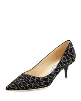 Aza Diamond Glitter Velvet Kitten-Heel Pump
