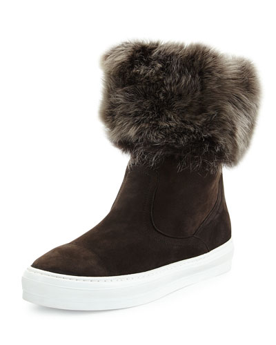 Lucio Fur-Trimmed Suede Sneaker/Boot