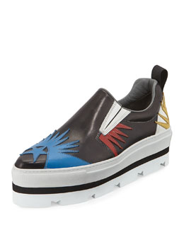 Starburst Laser-Cut Leather Platform Skate Shoe