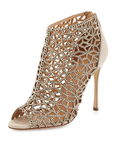 Tresor Laser-Cut Strass Crystal Bootie, Nude