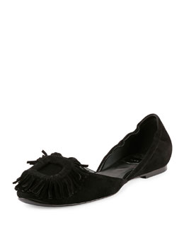 Ballerine Chips Fringe-Buckle Flat, Black
