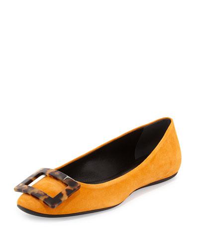 Gommette Suede Ballerina Flat, Orange