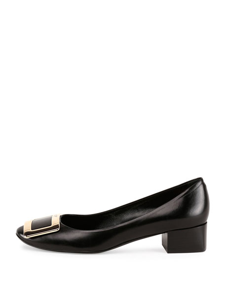 Belle de Nuit Leather Buckle Low-Heel Pump, Black